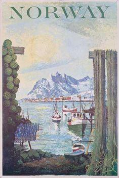 DP Vintage Posters - Norway Fishing Village Original Travel Poster