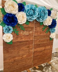 aper flower backdrop in colors light blue, royal blue and white 🌿🦋🍃 White Paper Flowers, Paper Flower Wall, Giant Paper Flowers, Big Flowers, Paper Roses, Quinceanera Decorations, Flower Decorations, Royal Blue Wedding Decorations, Paper Decorations