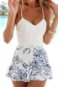Lace And Floral Romper