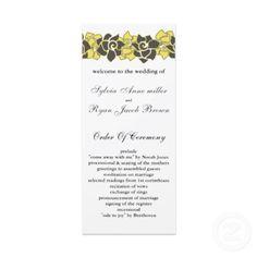 "floral ""yellow gray"" Wedding program"