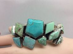 Navajo Double WOW 10 Different Colors of Carico Lake Turquoise Sterling Bracelet | eBay