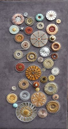 Dorset buttons as embroidery Crewel Embroidery, Beaded Embroidery, Embroidery Patterns, Embroidery Thread, Abstract Embroidery, Button Art, Button Crafts, Fabric Art, Fabric Crafts