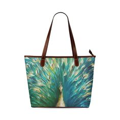 Beautiful Peacock Tail Feather Shoulder Tote Bag (Model 1646)