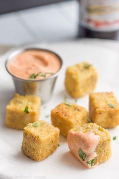 Tofu nuggets with sriracha mayo, a yummy vegan alternative the childhood favorite, chicken nuggets.