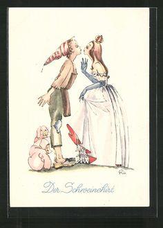 Alte Ansichtskarte: Künstler-AK Der Schweinehirt küßt die Prinzessin, Schweine, Märchen