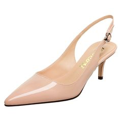 d676859b793 Slingbacks Pumps For Women-Low Kitten Heels Comfortable Pointy Toe Pumps  Shoes - Nude - CB188GSGLCY