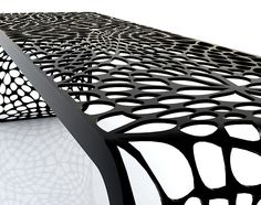 """""""Coral Bench"""" organic pattern -laser cut bended steel"""