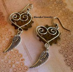 Brass Heart Wing Earrings Silver Brass Gear Steampunk by marokel, $14.00