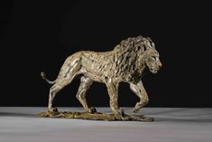 Bronze, signed, dated & numbered Lion Walking, Uk Arms, Wild Lion, Kenya Africa, Farm Barn, Majestic Animals, Predator, Big Cats, Habitats