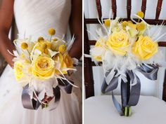 This yellow and white bouquet accented with feather is perfect for a modern styled gray and yellow vow renewal color scheme