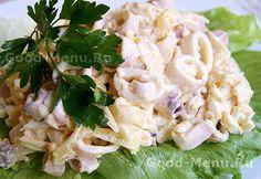 Вкусный салат с кальмарами - рецепт