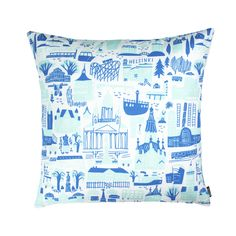 Designer: Marika Maijala Material: linen & cotton Size: x Perfect for x inner cushions - inner cushion is not included in the price. Silkscreen printed on our signature linen&cotton mix fabric. Blue Cushion Covers, Blue Cushions, Pillow Cover Design, Silk Screen Printing, Helsinki, Pattern Design, Throw Pillows, Fabric, Prints
