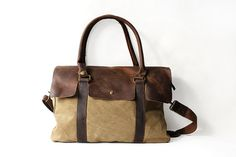 Love this!!!  Genuine Cow Leather bag /canvas Briefcase / by JacquelineStudio