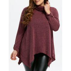 23.44$  Buy now - http://di91h.justgood.pw/go.php?t=203864304 - Turtleneck Asymmetric Plus Size Sweater