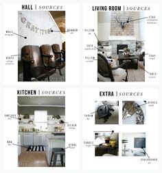 sources for hall, living, kitchen   extras