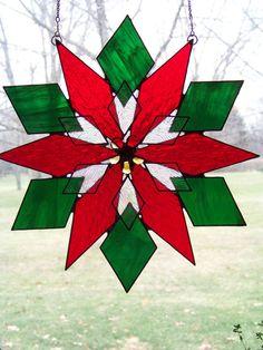 Poinsettia  Holiday Stained Glass Suncatcher by GlitzAndGrandeur, $48.00