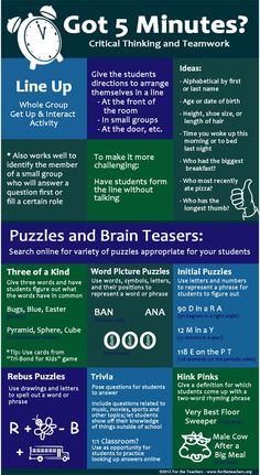 Great ideas for quick critical thinking and teamwork activities!