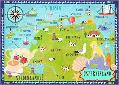 Poster Ostfriesland Karte