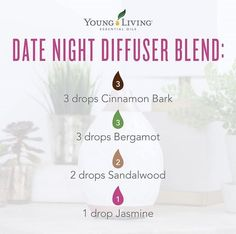 Diffuser blend with the amazing Young Living oils for that special night. Jasmine Essential Oil, Essential Oils 101, Essential Oil Diffuser Blends, Young Living Diffuser, Young Living Oils, Young Living Essential Oils, Bodybuilding, Marketing, Diffuser Recipes