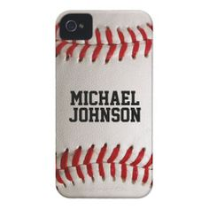 Personalized Name Baseball Sports Texture iPhone 4 Cover
