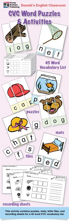 CVC Word Puzzles - This is an essential for any ESL classroom!  Young students learn step by step as they build words and practice phonetic associations.  This file contains puzzles, mats, letter tiles, and recording sheets for a 45 word CVC vocabulary list. Enjoy!  $4 on TpT  #ESL #EFL #ELL