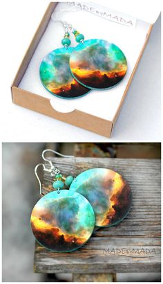 Galaxy motif ( pattern on the both sides ), very light Awesome dangle earrings from MADEbyMADA