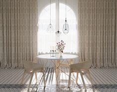 m on Behance Interior Architecture, Interior Design, Apartment Design, Dining Table, Behance, Curtains, Cinema 4d, Apartments, Concept