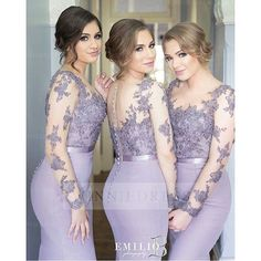 Lilac+Purple+Long+Sleeve+Mermaid+Chiffon+Bridesmaid+Dress+WNBD2901