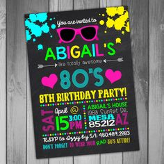 80s Party Invitation 80s Birthday Neon Birthday by CLaceyDesign