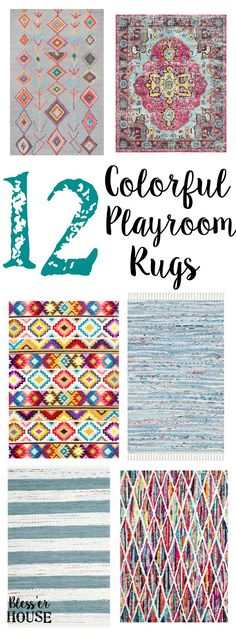 12 Colorful Playroom Rugs   blesserhouse.com - 12 colorful playroom rugs that could work in any casual and fun-loving space, even for a small budget.