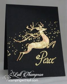 Stamping with Loll: Gilded Reindeer- Leap of Joy from Penny Black, gilding flakes, cut-n-dry foam.handmade Christmas card from Stamping with Loll: Gilded Reindeer . no layer card . gold on black background . luv the splattering of gold dots . Christmas Cards 2018, Homemade Christmas Cards, Christmas Deer, Christmas Greetings, Homemade Cards, Handmade Christmas, Holiday Cards, Christmas Crafts, Christmas 2019
