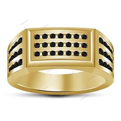 New Trend Black Simulated Diamond Men's Wedding Ring in 14Kt Yellow Gold Finish…