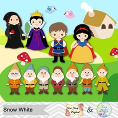 Snow White Digital Clip Art, Snow White Clipart, Snow White Princess Clipart, Seven Dwarves Clip Art Snow White Prince, Snow White Evil Queen, 7 Dwarfs, Seven Dwarfs, Disney Scrapbook, Clipart, Fairy Tales, Crafts For Kids, Digital