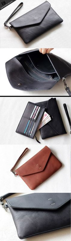 Handmade Genuine leather bifold envelope clutch purse long wallet