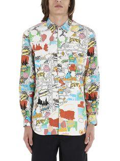 Comme Des GarÇons Shirt Comic Book Print Shirt In Multicolour Comic Book Printing, Comme Des Garçons Shirt, Comme Des Garcons, Graphic Prints, Men Casual, Comic Books, Shirt Dress, Comics, Long Sleeve