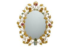 """One Kings Lane - The Guest Room - Maria 30"""" Floral Mirror"""