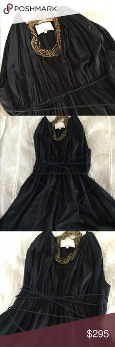 3-1 phillip Lim 3-1 Phillip lim cotton plunge neck pleated front navy dress 3.1 Phillip Lim Dresses Midi