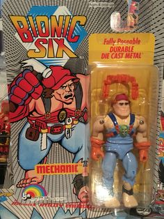 This is Mechanic from the Bionic Six line of toys and action figures from LJN. These are part of my personal toy collection.