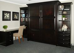 Murphy Bed (queen) w/desk. I'd like to make ours look like this!