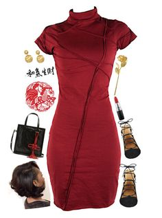 """Happy Chinese New Year ! [Chinese Inspired Outfit]"" by love-rebelwolf ❤ liked on Polyvore featuring Balenciaga, Nine West, MAC Cosmetics and Marco Bicego"