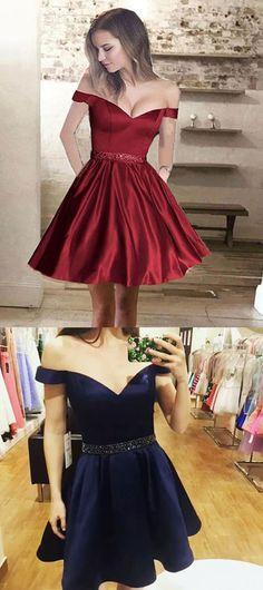 A-Line Dresses,Off-the-Shoulder Dresses,Short Homecoming Dresses,Beading Pockets Dresses
