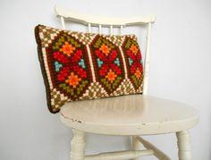Swedish vintage wool pillow Handmade Scandinavian wool pillow Hand embroidered pillow Throw pillow
