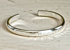 Half round sterling silver cuff bracelet with Tree Bark Texture and Mirror Finish - solid 925 Sterling Silver Cuff Bracelet, Silver Bangles, Sterling Silver Rings, 925 Silver, Silver Trays, Silver Earrings, Rustic Jewelry, Wire Jewelry, Gold Jewelry