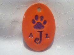 Ceramic Jewelry  Clemson monogrammed ceramic pendant by kimjustice, $30.00