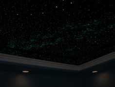 Home office doubles as a relaxation room with a Night Sky Mural on the ceiling., via Flickr.