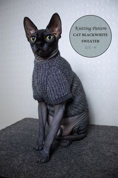 Excited to share the latest addition to my shop: Cat blackwhite sweater size M knitting pattern PDF + The pattern supplement, Sphynx turtleneck knitting pattern PDF Knitted Cat, Sphynx Cat, Kitty Cats, Cat Sweaters, Cat Costumes, Sweater Knitting Patterns, Love To Shop, Sweater Design, Socks