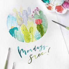 Mondays succ. 🌵  #vangoghwatercolor #letteringchallenge  #lettering #calligraphy #moderncalligraphy #letteringco #calligrafriends #handmadetype #brushtype #brushcalligraphy #dailytype #watercolor #liquidwatercolor #letteringpuns #quote #quoteoftheday #diy #monday #mondaysucks #greenery #cacti #succulents #watercolorcactus Van Gogh Watercolor, Liquid Watercolor, Watercolor Cactus, Brush Type, Day Off, Modern Calligraphy, Mondays, Cacti, Greenery