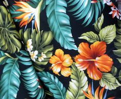Banana Leaf Hibiscus Bird Of Paradise Lehua Monstera Black Hawaii Tropical Home Decor Fabric Quality Cotton By The Yard By Gbaghawaii On Etsy