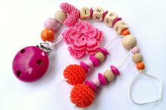 Schnullerkette mit Blume gehäkelt rosa orange