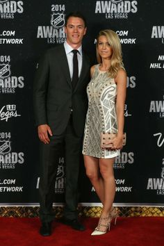 Jonathan Toews and his girlfriend arrive on the red carpet prior to the 2014 NHL Awards at Encore Las Vegas.